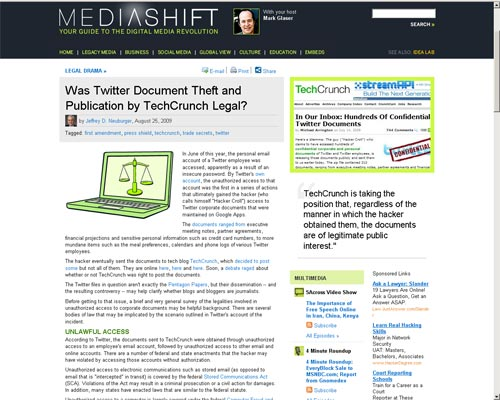 MediaShift: Was Twitter Document Theft and Publication by TechCrunch Legal?
