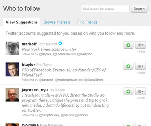 Twitter - Who to follow