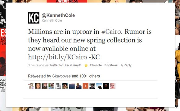 Kenneth Cole Failed Tweet