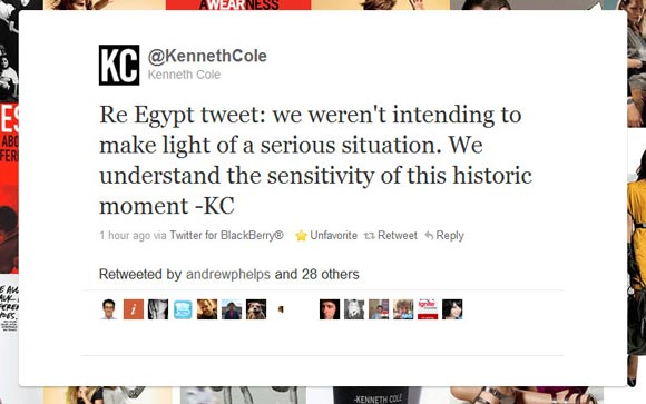 Kenneth Cole Tweet Excuse