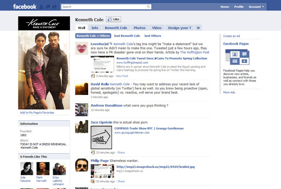 Kenneth Cole Facebook Page