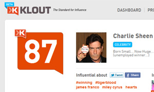 Charlie Sheen Klout score