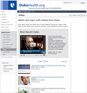 DukeHealth.org YouTube API integration