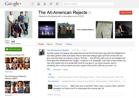 All-American Rejects band Google+ page