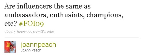 Twitter question: Influencers the same as evangelists?