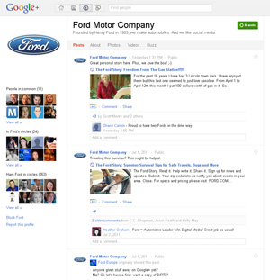 Google+ Ford Motor Company page