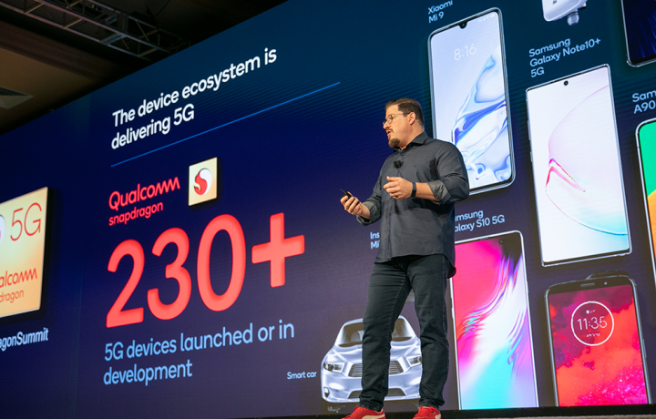 Qualcomm President Cristiano Amon at the 2019 Snapdragon Summit touting 5G development.